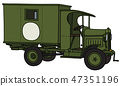The vintage military ambulance 47351196