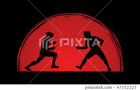 Fencing fighter graphic vector 47352223