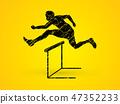 Hurdler hurdling graphic vector 47352233