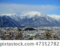 在冬天和北阿尔卑斯山的Otomachi市景:从大町公园大町市拍摄 47352782
