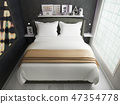 interior of a modern bedroom, made in dark colors 47354778