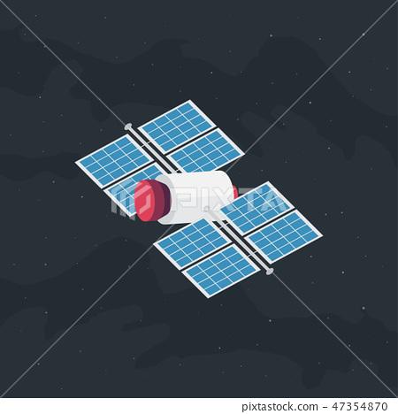 Satellite in space flat design 47354870