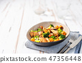 Healthy salad with chicken breast and broccoli 47356448