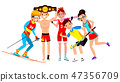 Athlete Set Vector. Man, Woman. Skiing, Boxing, Lacrosse, Table Tennis, Field Hockey. Group Of 47356709