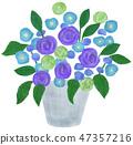 手繪插圖插花藍色 47357216
