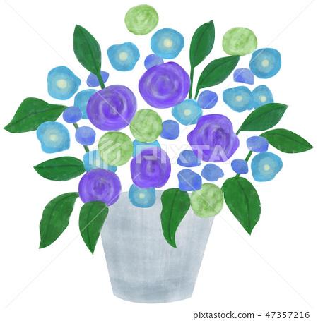 Hand-drawn illustrations Flower arrangement blue 47357216