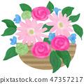 手繪插圖插花粉紅色 47357217