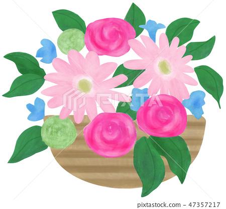 손으로 그린 일러스트 꽃꽂이 핑크 47357217