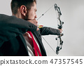 Businessman aiming at target with bow and arrow, isolated on white background 47357545