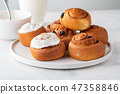 Delicious Cinnamon Rolls with cheese cream on a white plate. Copy space. 47358846