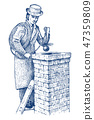 Bricklayer or Man builder on the roof of the house. Gentleman mason, worker in coat and hat. 20th 47359809
