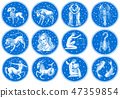 Zodiac icons. Astrology horoscope with signs. Calendar template. Collection outline animals. Vintage 47359854