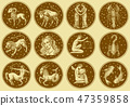 Zodiac icons. Astrology horoscope with signs. Calendar template. Collection outline animals. Labels 47359858