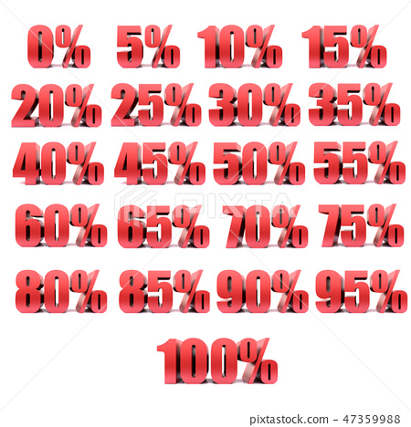 0-100 percent 3D  red type on white background 47359988