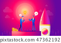 Startup business illustration. Businessmen make a agreement on idea before launching rocket 47362192
