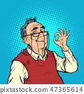 smile elderly man with glasses okay gesture 47365614