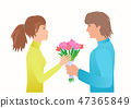 Guy give girl bouquet on the Date. 47365849