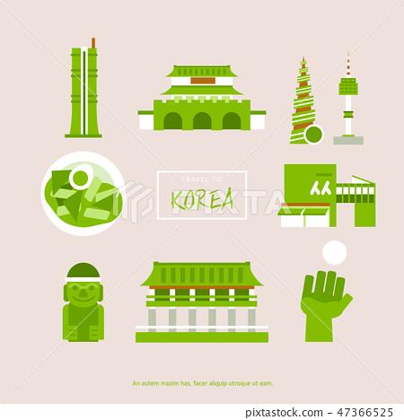 한국 플랫 아이콘 세트 47366525
