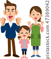 三個有趣的家庭成員父母和女兒 47369042