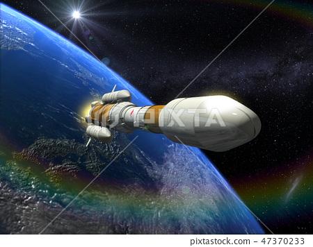 地球CG日本旭日3D火箭太陽 47370233