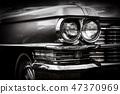 Close up detail of restored classic American car. 47370969