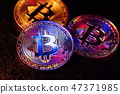Three coins with bitcoin logo laying on a black background 47371985