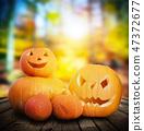 Halloween pumpkins on autumn forest background 47372677