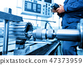 Man operating CNC drilling and boring machine. Industry 47373959