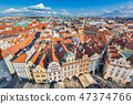 Cityscape of Prague, Czech Republic. Traditional red roof tenement houses. 47374766