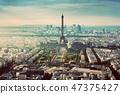 Paris, France vintage skyline, panorama. Eiffel Tower, Champ de Mars 47375427