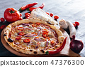 Pizza with hot pepper, red onion, sausage and blue cheese 47376300