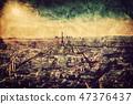 Paris, France at sunset. Aerial view on landmarks. Vintage 47376437