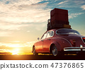 Retro red car with luggage on roof rack at sunset. Travel, vacation concepts. 47376865