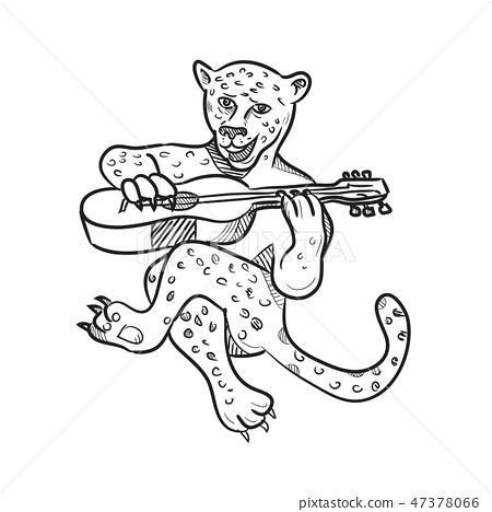 Happy Leopard Playing Acoustic Guitar Cartoon Stock Illustration 47378066 Pixta