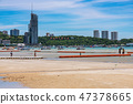 Beach view with the famous Pattaya city sign 47378665