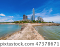 View of Seaside area with city buildings 47378671