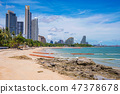 View of a beach with city buildings in Pattaya 47378678
