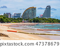 View of a quiet beach and hotels in North Pattaya 47378679