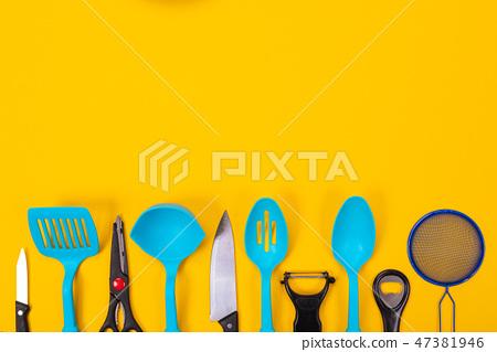 Kitchen Utensils Isolated On Yellow Background Stock Photo 47381946 Pixta