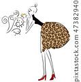 파리 지엔느 여자 패션 일러스트 벡터 47382940