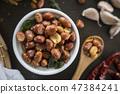 Seasoning fried peanut bean in a ceramic bowl 47384241
