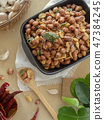 Seasoning fried peanut bean in a ceramic bowl 47384245