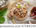 Seasoning fried peanut bean in basket, bean snack 47384249