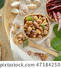 Seasoning fried peanut bean in basket, bean snack 47384250
