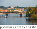 Embankment of the Vltava river in Prague 47384361