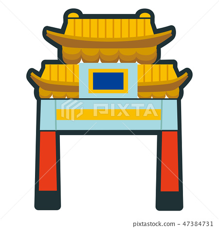 Illustration of a building. Icon of the gate of Yokohama Chinatown that becomes Kanagawa prefecture of Japan. 47384731