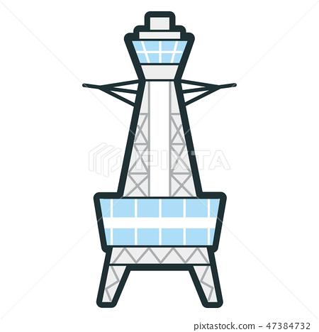 Illustration of a building. Icon of Tsutenkaku in Osaka, Japan. 47384732