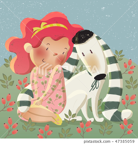 Vector illustration of a cute girl hugging a dog 47385059