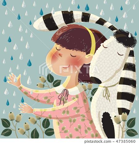 Vector illustration of a cute girl hugging a dog 47385060