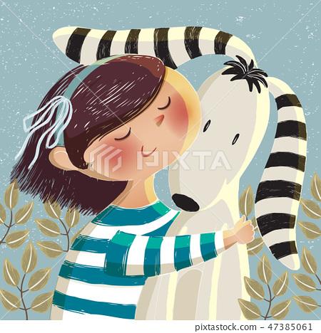 Vector illustration of a cute girl hugging a dog 47385061
